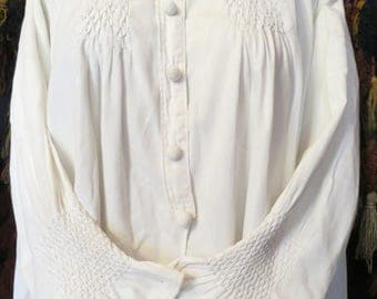 Rare Edwardian Cotton Smocked Top, Amazing Buttons, OSFA