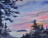 Orcas Island Sunset II, Watercolor Original, Orcas Island, San Juan Islands, Pacific Northwest, Fawn Island