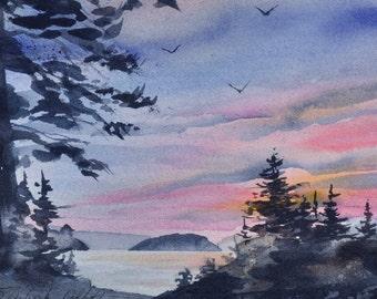 Orcas Island Sunset II, Watercolor Giclée Print, Orcas Island, San Juan Islands, Pacific Northwest, Fawn Island