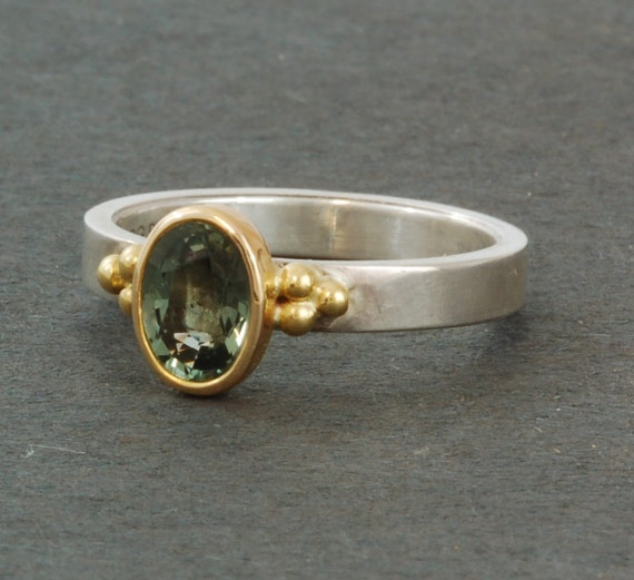 Green Sapphire | Natural Green | Classic | Sterling Silver | 14 karat yellow gold ring | Stackable Ring |
