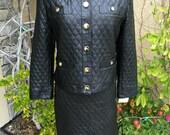Vintage 1980s 1999s black quilted leather designer Vera Pelle jacket and skirt size M