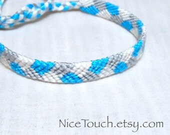 SUMMER SALE!!! Free Shipping or Save 20% ~ Snowflake knotted blue, white, and gray friendship bracelet ~ Made to Order