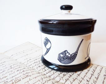 Vintage Ceramic Humidor/Desk Top  Pipe Tobacco Jar/ Sealed Lid Jar/ Black and White Tobacciana