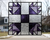 Stained Glass Suncatcher Bear's Paw Quilt Block Handmade