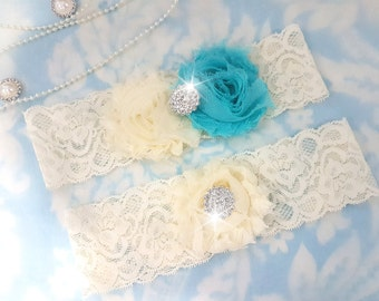 Aqua and ivory Wedding Garter Set - Bridal Garter - Ivory Lace Garter - crystal garter set - blue Wedding Garter - aqua and ivory - crystal