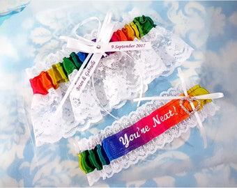 Personalized Rainbow Themed Wedding Garter set, satin and lace, heart garter, customized garter, name garter, you're next garter