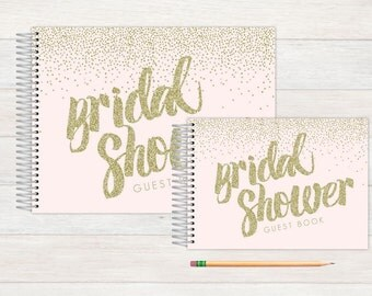 Bridal Shower Guest Book, Bridal Shower Guestbook, Bridal, Custom GuestBook, Personalized GuestBook, Bridal Shower Registry Book, glitter