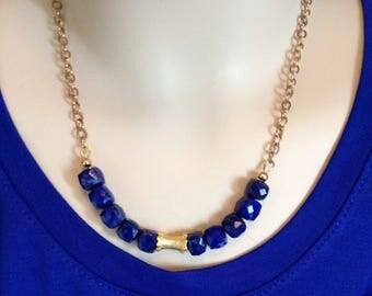 Ashira Natural 14k Gold Filled Bar Gemstone Necklace - Garnet, Spinel, Apatite, Swiss Quartz, Lapis Lazuli