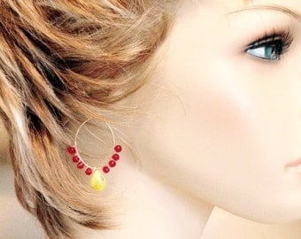 """Yellow & hints of Red Quartz with Red Quartz Teardrop Oval Hoop Earrings – 2"""""""