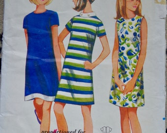 60s Shift Dress Pattern Butterick 4350 Sheath Dress Sewing Pattern Size 12S