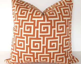 Greek Key Indoor / Outdoor Pillow Cover in Persimmon/Orange and Ivory / 16x16 inches