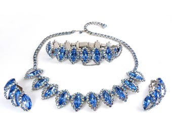 1960's WEISS Blue & AB Rhinestones Necklace, Bracelet and Earrings Set