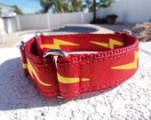 """Dog Collar Lightning Bolt Red Martingale or Quick Release buckle 1"""" wide -  info & sizing in details - see 3/4"""" Black Bolt collar within"""
