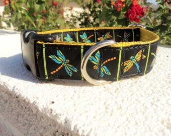 "Dog Collar Dragonfly 1"" wide Quick Release buckle adjustable - no martingale limited ribbon"