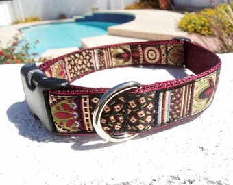 "Dog Collar Burgundy Beauty 1"" wide Quick Release or Martingale collar style adjustable"