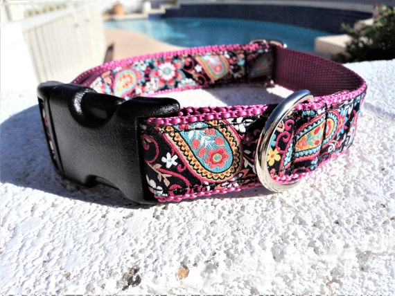 """Sale Dog Collar Fiesta Paisley 1"""" wide side release buckle -no  martingale"""