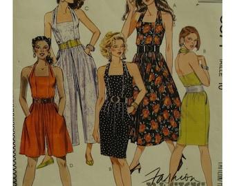 "Halter Jumpsuit Pattern, Sundress, Straight/Full Skirt, Backless, Side Pockets, Belted, McCalls No. 5371 Size 10 (Bust 32.5"" 83cm)"
