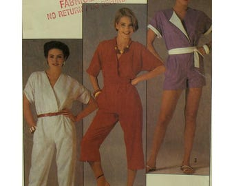Wrap Bodice Jumpsuit Pattern, Romper, Capris, Cut-on Sleeves, Flip Side Collar, Drawstring Sleeve, Belted, Simplicity No. 6800 Size 10 12 14