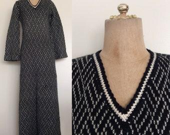 1970's B&W Knit Sweater Maxi Dress Size Small Medium by Maeberry Vintage