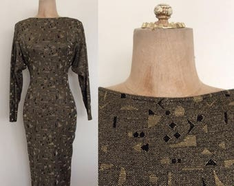 30% OFF 1980's Gold & Black Geo Lurex Fitted Sweater Wiggle Dress