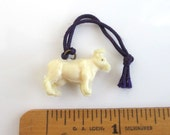 Celluloid Cow / Bull Charm - Vintage w/ Purple Cord