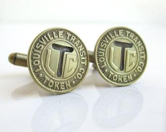 LOUISVILLE Transit Token Cuff Links - Vintage Repurposed Gold / Brass Coins