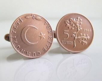 Turkey Coin Cuff Links - Vintage Repurposed 5 Kurus Bronze Coins