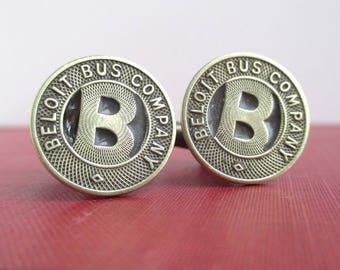 BELOIT, WI Transit Token Cuff Links - Vintage Repurposed Brass Coins