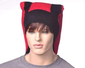 Red Black Jester Hat Backward Pointing Tips Fleece  Pointed Fleece Harlequin Cap Unisex Adult Men Women Costume Hat