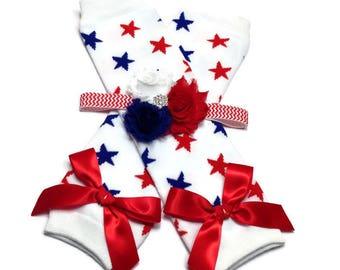4th of July Leggings, Star Legwarmer and Headband Set, Baby Headband, Patriotic Headband, Newborn Headband and Leg Warmer Set, Star Leggings