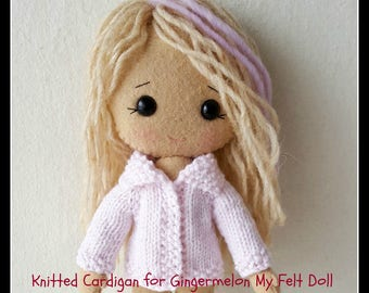 PDF Knitted Cardigan Pattern for Gingermelon My Felt Doll
