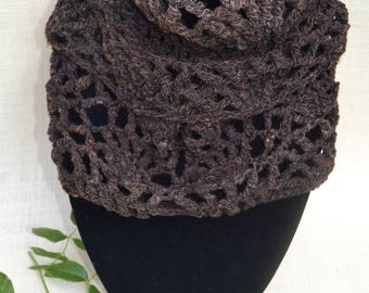 Hand Crochet Infinity Scarf made using Handspun Pure Australian Wool in a natural  Dark Chocolate Brown