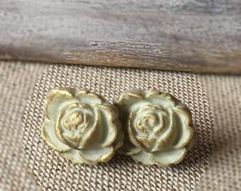 Cream Flower Post Earrings - Delicate Stud Earrings - Bridesmaids Earrings - Indie Bride Jewelry