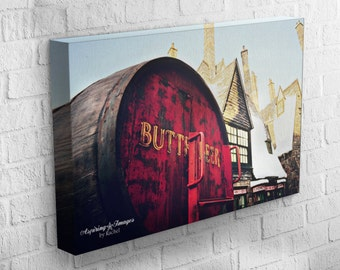 Harry Potter Canvas Wrap, Gallery Wrap Photo, Harry Potter, Hogsmeade Butter Beer, Rust Red Garnet and Light Yellow, Harry Potter Wall Art