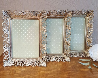 Holds 5 x 7 Picture - 3 Matching Filigree Frame - Romantic Wall Decor - Oak Hill Vintage
