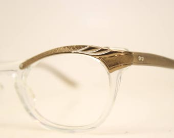 Unused Brown Clear Combination vintage cat eye eyeglasses vintage cat eye glasses frames Cateye frames NOS