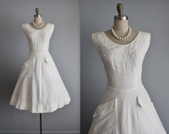 50's Soutache Dress // Vintage 1950's White Pique Cotton Soutache Garden Party Casual Wedding Dress XS