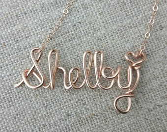 Rose Gold Name Necklace, Wire Name Necklace, Personalized Jewelry, Name Necklace, Bridesmaid Necklace, Personalized Name Jewelry Gifts