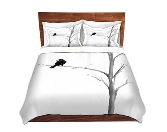 Raven Bedding - Modern Bedding - Queen Size Duvet Cover - King Size Duvet Cover