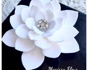 Bridal Fascinator, Bridal Hair Fascinator, Water Lily Hair Clip With Crystals, Bridal Hair Fascinator, Bridal Hair Accessory, Wedding Clip