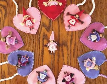 Felt Wee Folk Bendy Doll - Waldorf-inspired Valentine's Gift (1 Custom Doll)