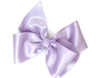 "Lilac Hair Bow 5"" Lavender Satin Hair Accessory Light Purple Flower Girl Sassyx Bow Seriously Sassyx Orchid"