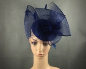Navy Blue Big Bow Fascinator Cocktail Hat with Headband,Navy Blue Dress Fascinator,Party Fascinator Hat