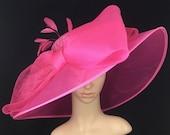 Fuchsia Pink Sinamay and Silk Wide Brim Kentucky Derby Hat, Church Hat, Bridal Wedding Hat, Dress Hat, Tea Party Hat