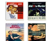 Reserved  GlennTammiFuller Alfred Hitchcock Movie Coasters Set Four Sublimated Classic Movie Coasters