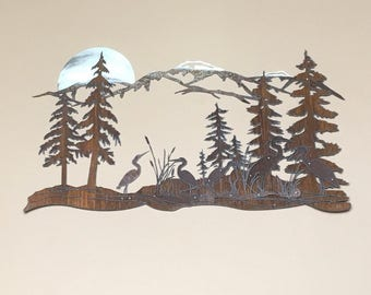 Heron family Silver Moon Recycled Steel Rustic Mountain Sculpture Custom Metal art