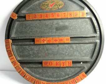 Vintage Foxy Toy Spellboard, Alphabet Letters, Numbers & Symbols, Metal and Wood, Victorian Educational Toy