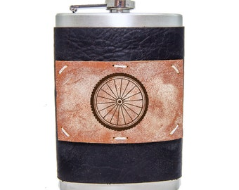 Bicycle Wheel 8oz Flask in Midnight Espresso Leather