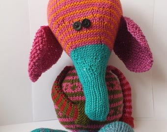 Hand knitted toy, hand knitted elephant, cotton