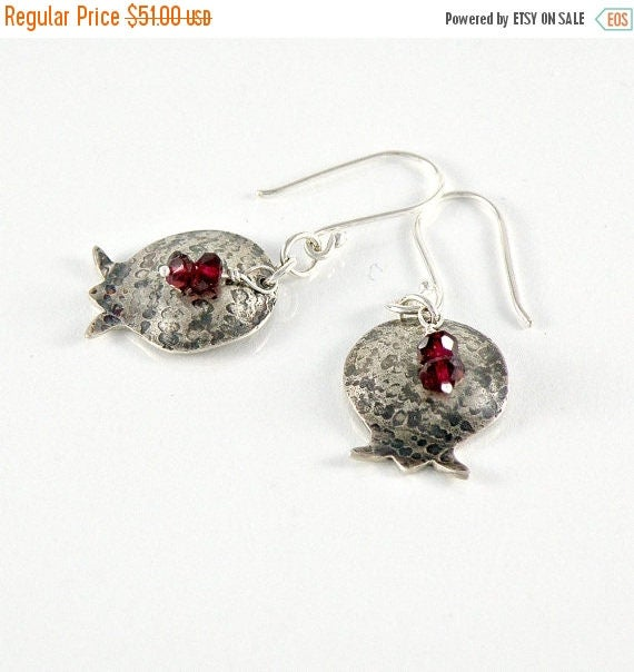 Pomegranate Earrings in Sterling Silver, Bat Mitzvah Gift, Gift For teens Gift For Women, Girls, Silver Dangle Earrings, Garnet Earrings